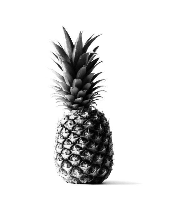 Pineapple black Art Print