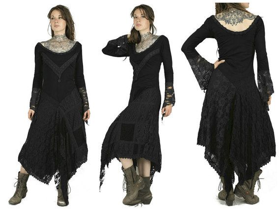 Black Sharped long pixie dress bohemian gypsy by BaliWoodShop