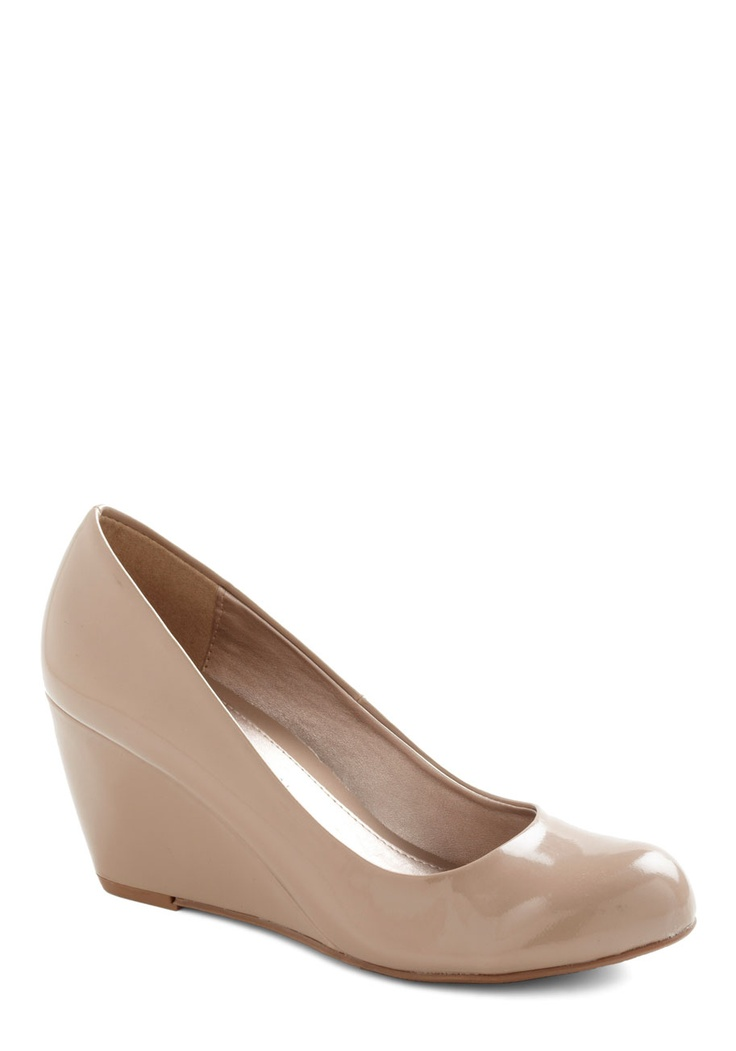Find Your Feat Wedge in Ecru | Mod Retro Vintage Heels | ModCloth.com Cute nudes