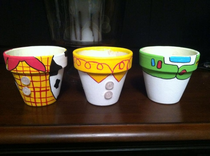 Toy story pots. Can be used for anything... Great for snack bowls for a toy story party. 5.00 a piece 12 for the set! Find more @ https://www.facebook.com/pages/Honey-Bee-Designs/165806190240747 #crafts #diy