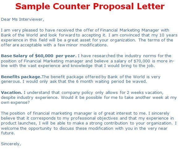Counter Offer Letter Lettering Letter Templates Business Proposal Letter