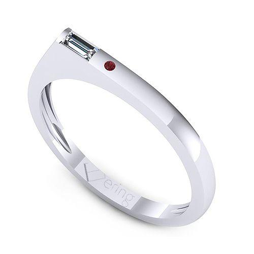 Inel logodna L45ARB  1 x diamant, dimensiune: ~3.50x1.50mmmm, greutate: 0.06ct , culoare: G, claritate: VS2, taietura: very_good, forma: straight_baguette 1 x rubin, dimensiune: ~1.20mm, forma: round