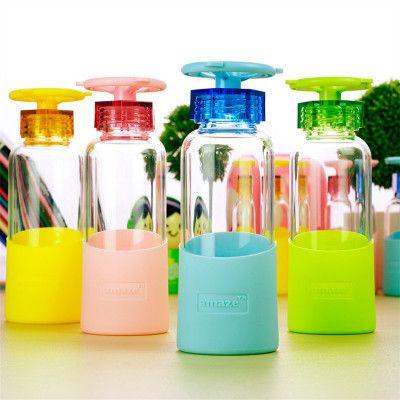 Faucet Shape Borosilicate Glass Hot Silicone Cover 360ml Outdoor Drinkware botella copo my bottle botellas para agua mug tazas