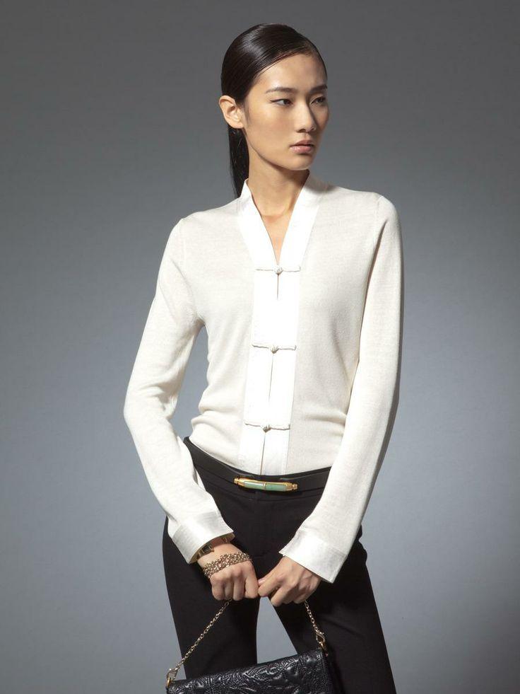 Silk cotton cardigan with satin trims Shanghai Tang Spring/Summer 2014