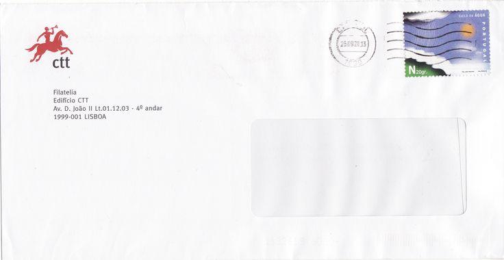 Sobrescrito circulado de Lisboa para Estoi datado de 25/09/2013 com selo alusivo ao ciclo da água que foi colocado em circulação a 22/03/2006