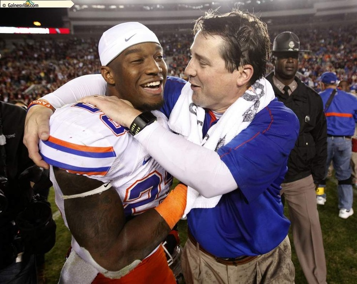 Will Muschamp celebrates with Mike Gillislee at the end of the game against Florida State!  Go Gators!