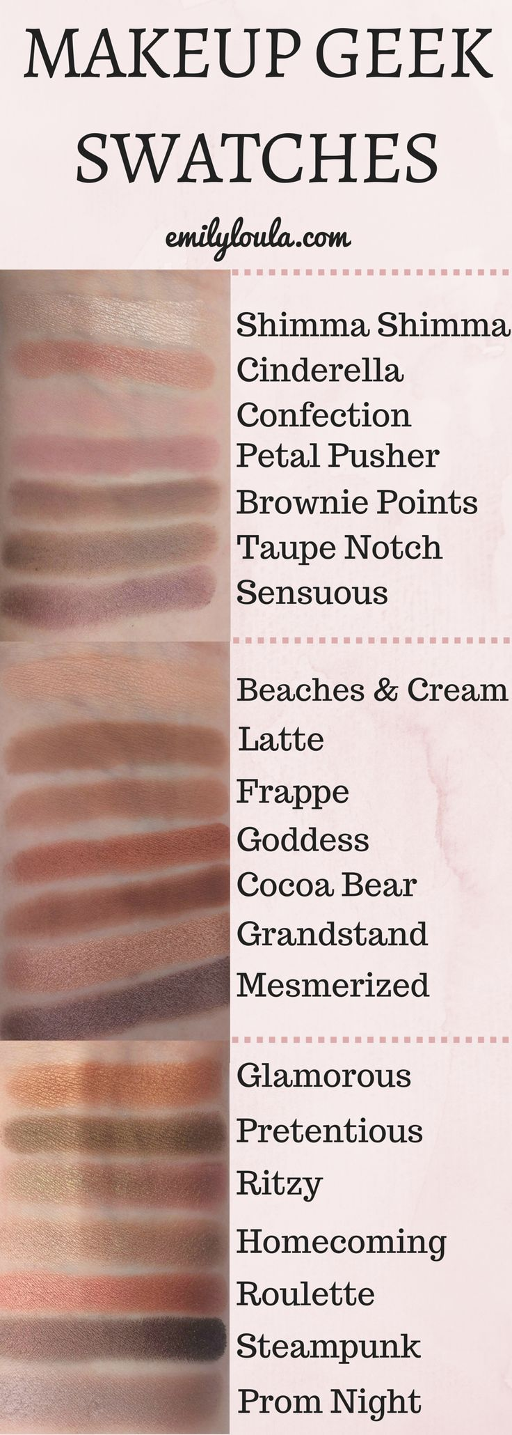 Makeup Geek Eyeshadow Pan Swatches of; shimma shimma, cinderella, confection, petal pusher, brownie points, taupe notch, sensuous, beaches & cream, latte, frappe, goddess, cocoa bear, grandstand, mesmerized (mesmerised), glamorous, pretentious, ritzy, homecoming, roulette, streampunk and prom night. Featuring Makeup Geek's normal eye shadow pans, the duochrome pans and their foiled pans. From emilyloula.com - beauty blog.