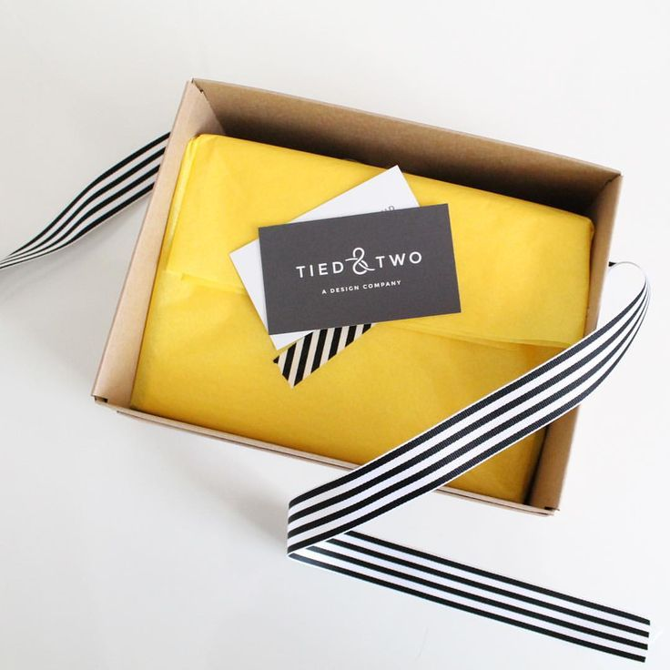 Branding, package design, yellow, black and white, Kraft box, tissue paper, striped logo