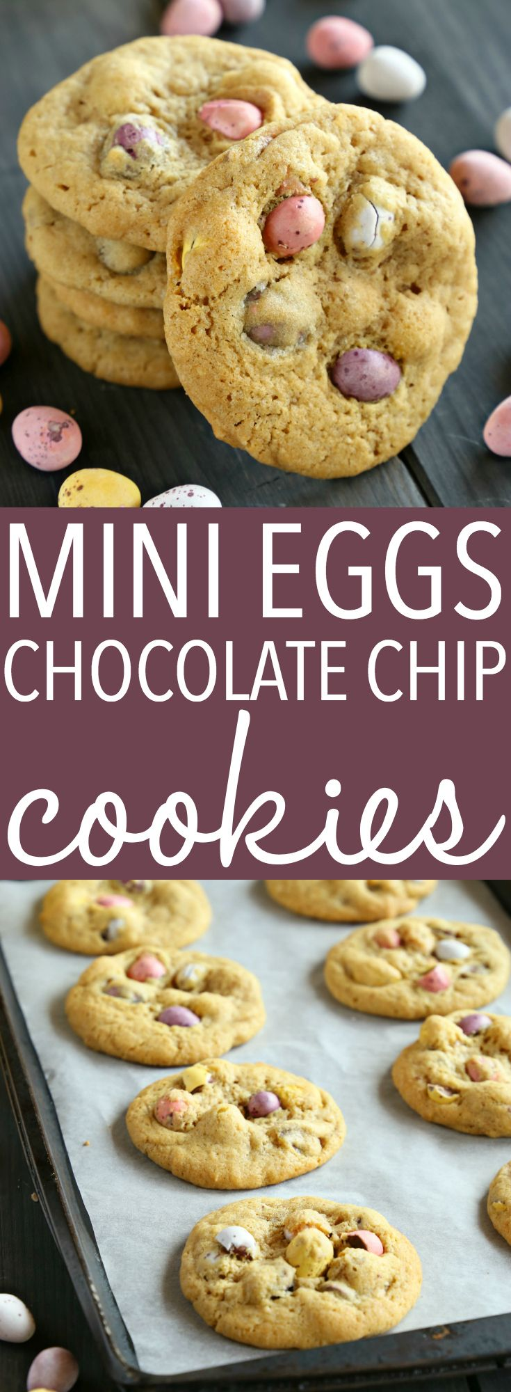 These Mini Eggs Chocolate Chip Cookies are the perfect easy snack or dessert for Easter! Made with the perfect soft and chewy chocolate chip cookie dough and stuffed with delicious candy-coated Mini Eggs, these cookies are beautiful, colorful, and perfect for Spring! Recipe from thebusybaker.ca! #minieggsdessert #minieggscookies #easyeasterdessert via @busybakerblog
