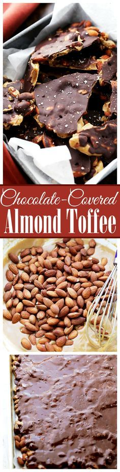 Chocolate Covered Almond Toffee - Made with light brown sugar, dark chocolate and toasted almonds, this toffee recipe results in a deep flavored, crunchy, and delicious treat!: