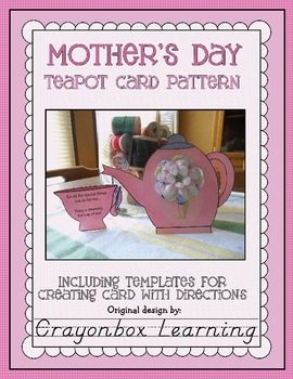 Celebrate Mom with this cute Mother's Day Teapot Card pattern... Featuring original artwork and design.  Includes pattern, instructions, and a phot...