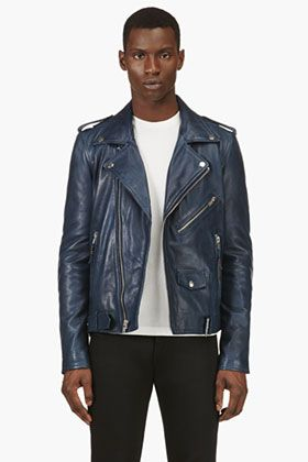 BLK DNM Navy Blue Leather Iconic Motorcycle Jacket for men | SSENSE