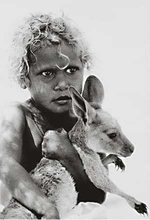 Aboriginal girl with Kangaroo, Australia. S)