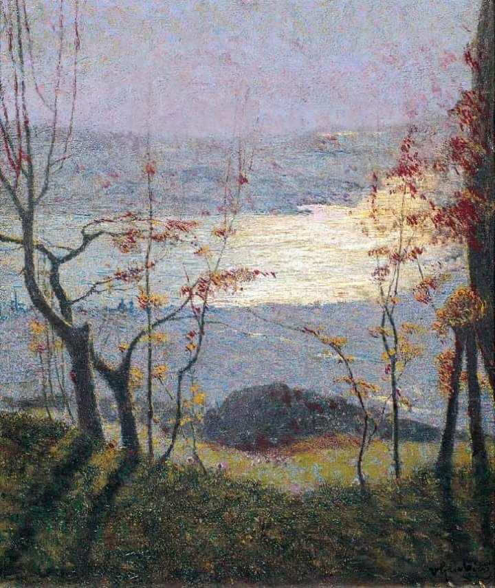 """'Autumn landscape with trees' (1900-1902) by Vittore Grubicy de Dragon #art #arte"""