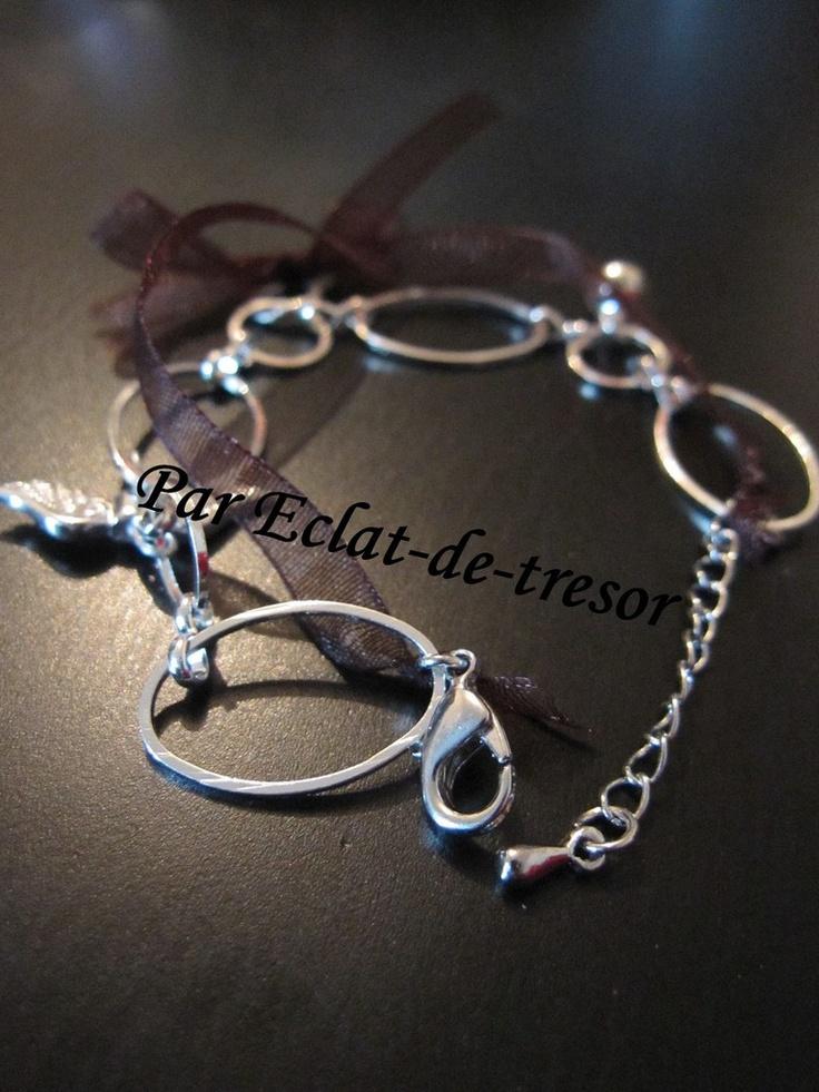 Bracelet maillons ovales et ruban décoratif