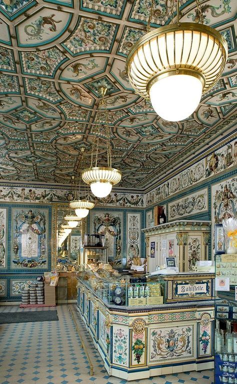 """Pfunds Molkerei in Dresden, Germany known as Mendl's confectionary shop in """"The Grand Budapest Hotel"""" movie"""