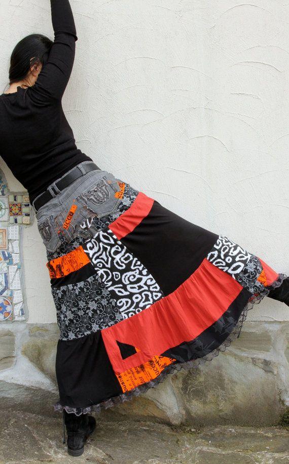 M-L Crazy pop art recycled long jeans skirt от jamfashion на Etsy