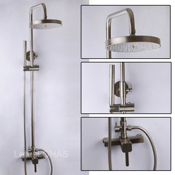 Brushed Nickel Bathroom Wall Mount Shower Faucet Rain Shower Mixer Tap Valve Set #JK