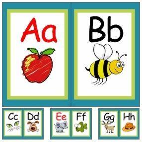 Alphabet Classroom Decor Wall Cards A-Z (RF.K.3a) (Turquoise Border)