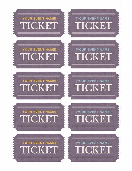 Basic tickets (10 per page) - Templates Free on line