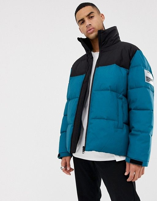 e03e78a9f980 Mennace puffer jacket in blue with logo