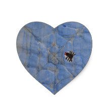 Art by Children, Spider with cobweb, drawing Heart Sticker