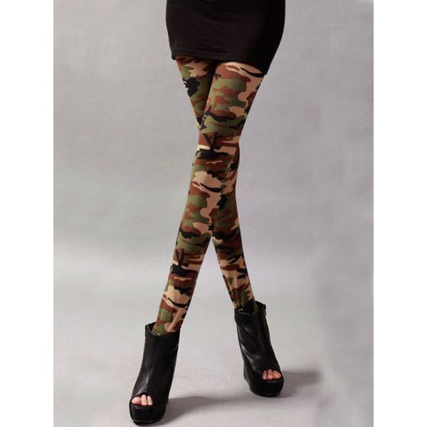 Choies Green Camouflage Legging ($9.99) ❤ liked on Polyvore featuring pants, leggings, green, green trousers, green leggings, camo print leggings, camo leggings and camo pants