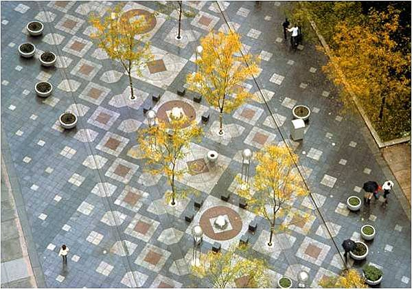 16th Street Mall | This Denver, CO pedestrian mall was designed by the firm I.M. Pei and Partners in collaboration with Hanna/Olin (now OLIN). The 80-foot wide, mile-long mall opened in 1982, incorporates custom paving, planting, and street furniture. Learn more http://tclf.org/landscapes/16th-street-mall.