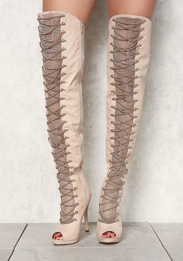 Nude Leatherette Over The Knee Cross Chain Boots - Shoes