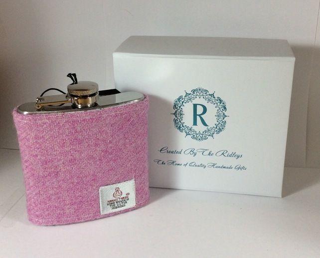 Pink Harris Tweed Hip Flask gift boxed ideal bridesmaid groomsman present £20.00