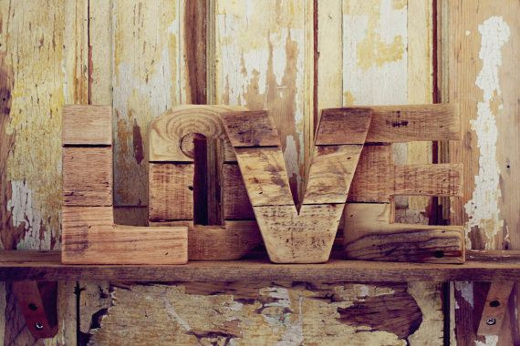 Original Reclaimed 6inch Wood Letters - LOVE Add a little LOVE to your mantle... The word LOVE is a 6 inch, thin version of the marquee wood