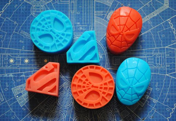 6 x savon super héros - Spiderman & Superman