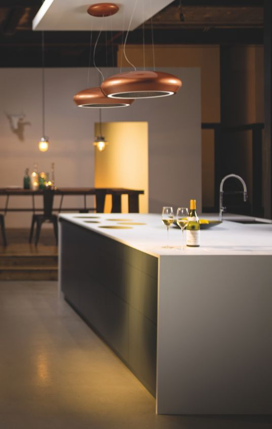 Nope, these aren't stylish copper pendants, but cooker hoods! This sleek new design is the Ceramica by Caple and is the only cooker hood in the UK to have a ceramic, handmade body. The filter is stainless steel and the hood is finished in a soft copper – the material of the moment.