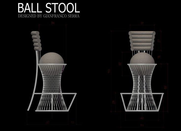 Formabilio - BALL STOOL  è  uno sgabello ironico, che mima una palla dentro il canestro,  le rifiniture variano dal casual per  adattarsi alla camera dei bimbi alla classica pelle che dona un aspetto più elegante   e serio adattandosi anche altri ambienti. Lo schienale così come la palla hanno un'imbottitura con vari strati di poliuretano espanso a diversa densità in modo da avere una seduta comoda mantenendo la forma. La struttura è in filo d'acciaio cromato e forma sotto la seduta  un ...