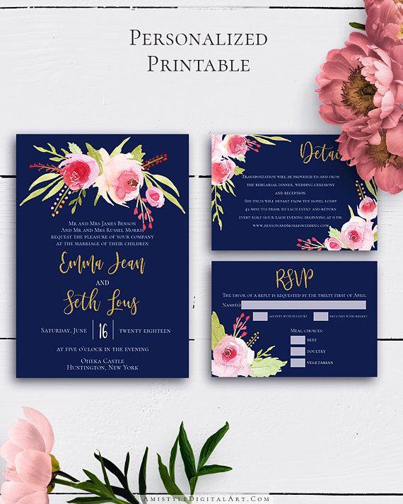 Navy Blue Wedding Invitation Suite With Unique And Elegant