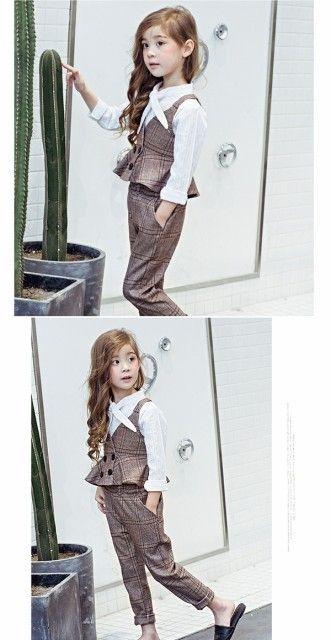 d908ce813b2fd 子供服 セットアップ 女の子 チェック柄 フォーマル 女の子 スーツ キッズ  ベスト・長ズボン  フォーマル  3点セット  キャミソールの通販はWowma!