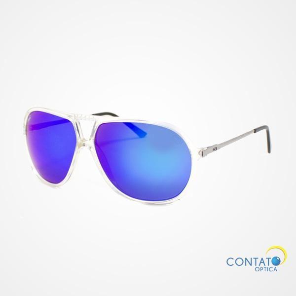 Contato Óptica - HB ATACAMA 900 84304 - Óculos de sol grande lente azul armação transparente