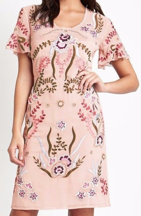 Frock and Frill Short Sleeved Embroidered Tea Dress Embellished Party Shift Pink