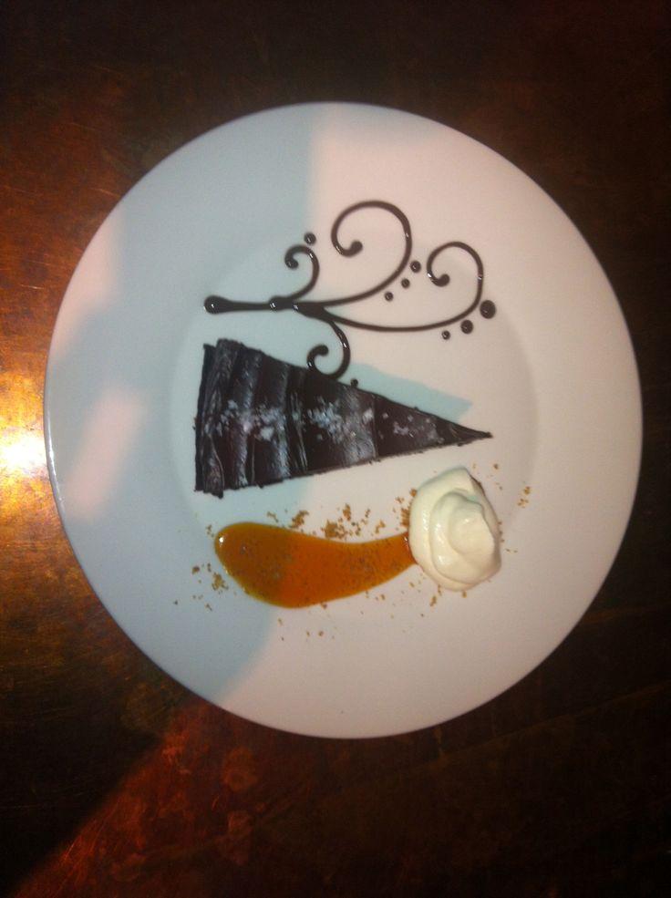 Chocolate Blackout Cake, Mesquite smoked Caramel Sauce, Whipped Cream, & Sea Salt.  Served 2nite with a Smoked Porter...