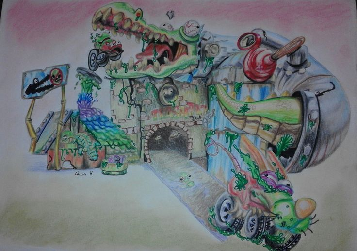 """Dibujo realizado en lapiceros de color y rotuladores. Copia del dibujo de la caja del juguete """"Trash Wheels"""""""