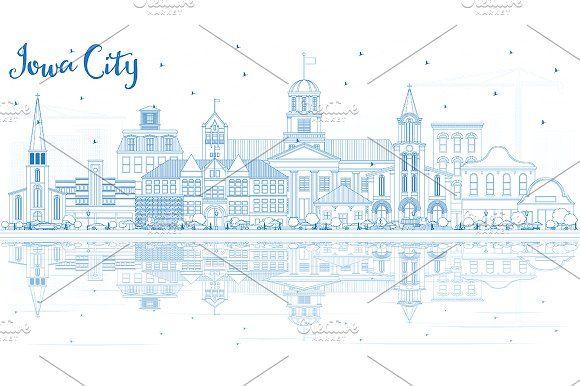 #Outline #Iowa #City #Skyline  by Igor Sorokin on @creativemarket