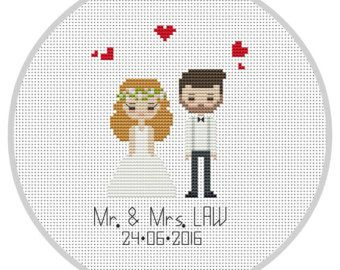 Custom Cross Stitch Wedding Portrait Pattern cotton by Xrestyk