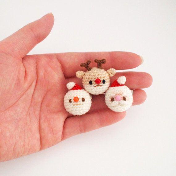 Santa Snowman Rudolph Crochet Christmas Brooch by isoDreams