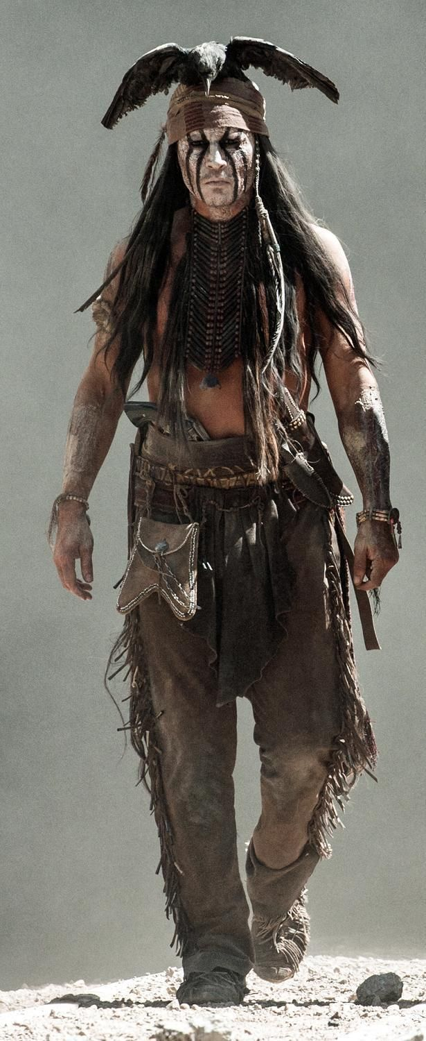 Johnny as Tonto - over the top costume!! The Lone Ranger movie was a good, fun ride! Entertaining!