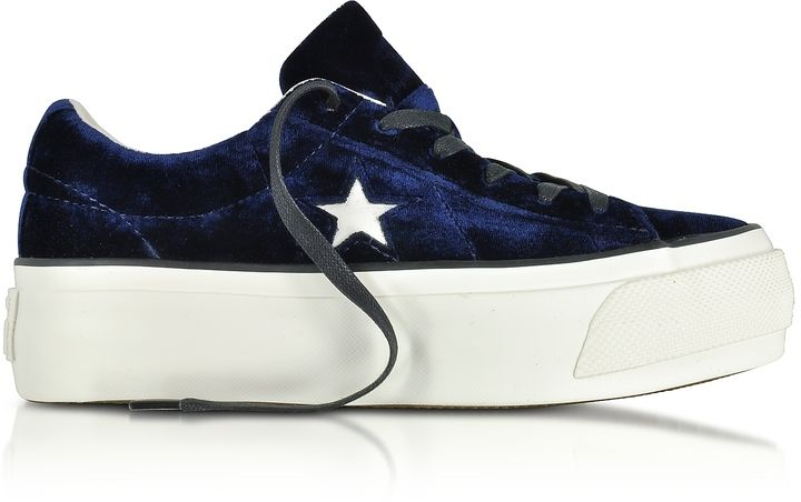 Converse Limited Edition One Star Ox Eclipse Blue Velvet Flatform Sneakers