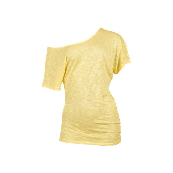 Yellow Off The Shoulder Tee ($11) ❤ liked on Polyvore featuring tops, t-shirts, shirts, blusas, off the shoulder t shirt, slouchy shirts, off shoulder shirt, off-shoulder tops and beige t shirt