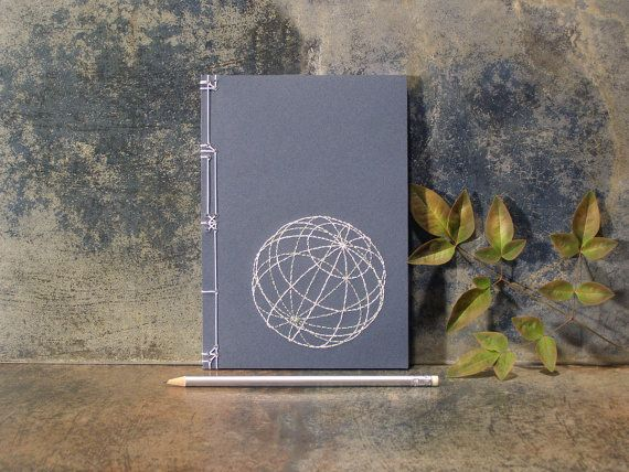 Globe. 3D Sphere. Embroidered A5 Notebook by FabulousCatPapers