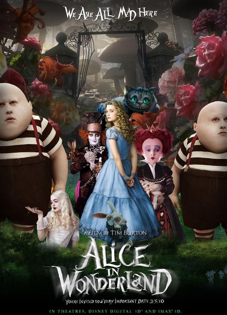 Alice au pays de merveilles /Alice in Wonderland film de Tim Burton, 2010 d'après le roman de Lewis Carroll avec Johnny Depp, Mia Wasikowska et Helena Bonham Carter, production Walt Disney Pictures & The Zanuck Company.