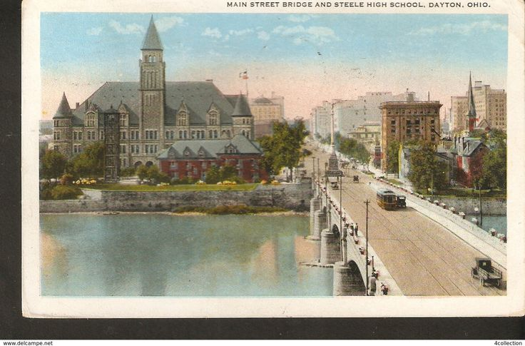 Old Postcard by Meiler USA Dayton OH Ohio Main Street Bridge and Steele High School posted in 1923 - 2c Washington stamp