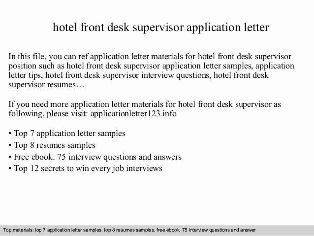 Hotel Front Desk Job Description Resume Elegant Hotel Front Desk Supervisor Application Let In 2020 Sample Resume Cover Letter Job Cover Letter Cover Letter For Resume